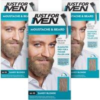 Just For Men Moustache & Beard Brush In Sandy Blond Triple Pack