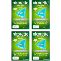 Nicorette 2mg Original Gum Four Pack 105 Pcs