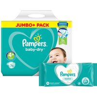 Pampers Baby Dry Size 4+ Jumbo Pack & Wipes Bundle