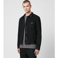 AllSaints Men's Cotton Lightweight Brind Reversible Denim Jacket, Black, Size: L
