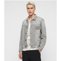 AllSaints Men's Cotton Relaxed Fit Gasidro Denim Jacket, Grey, Size: S