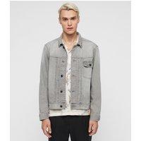 AllSaints Men's Cotton Gasidro Denim Jacket, Grey, Size: XXL