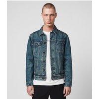 AllSaints Men's Cotton Regular Fit Drub Denim Jacket, Blue, Size: XS