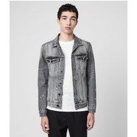 AllSaints Men's Cotton Lightweight Bilton Denim Jacket, Black, Size: S