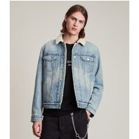 AllSaints Men's Cotton Relaxed Fit Ilkley Denim Jacket, Blue, Size: XS