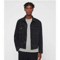 AllSaints Men's Cotton Relaxed Fit Branscombe Denim Jacket, Black, Size: XL
