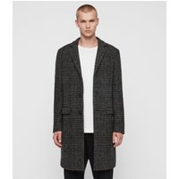 AllSaints Men's Wool Check Slim Fit Bendall Coat, Black and Grey, Size: 38