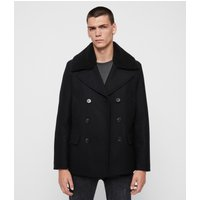 AllSaints Men's Wool Traditional Gregory Peacoat, Black, Size: 36