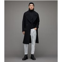AllSaints Men's Cotton Lightweight Parlour Roll Neck Top, Black, Size: XL