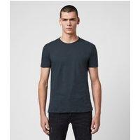 AllSaints Men's Cotton Regular Fit Figure Crew T-Shirt, Blue, Size: L