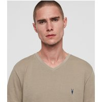 AllSaints Men's Cotton Slim Fit Cooper V-Neck T-Shirt, Grey, Size: S