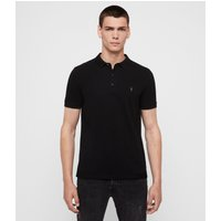 AllSaints Men's Cotton Slim Fit Reform Short Sleeve Polo Shirt, Black, Size: L