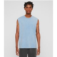 AllSaints Men's Cotton Acetic Sleeveless Crew T-Shirt, Blue, Size: L