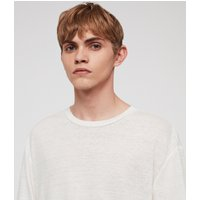 AllSaints Men's Lightweight Arann Short Sleeve Crew T-Shirt, White, Size: L