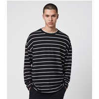 AllSaints Men's Stripe Tobias Long Sleeve Crew T-Shirt, Black and White, Size: XL