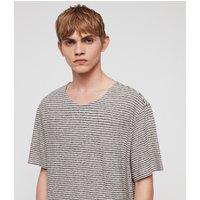 AllSaints Men's Cotton Relaxed Fit Sine Short Sleeve Crew T-Shirt, Blue, Size: XL