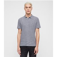 AllSaints Men's Cotton Stripe Regular Fit Lupa Polo Shirt, White and Blue, Size: S