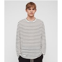 AllSaints Men's Stripe Lightweight Ludo Crew T-shirt, White and Black, Size: L