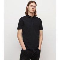 AllSaints Men's Cotton Regular Fit Brace Short Sleeve Polo Shirt, Black, Size: M
