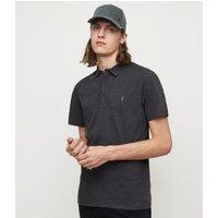 AllSaints Men's Cotton Regular Fit Brace Short Sleeve Polo Shirt, Grey, Size: XL
