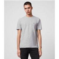 AllSaints Men's Cotton Regular Fit Marl Slim Brace Tonic Crew T-Shirt, Grey, Size: M