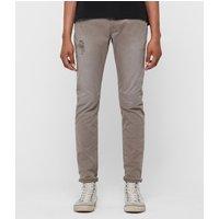 AllSaints Rex Twill Damaged Slim Jeans, Flint Grey