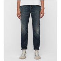 AllSaints Ridge Damaged Tapered Jeans, Indigo