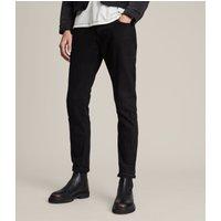 AllSaints Men's Leather Traditional Rex Slim Jeans, Black, Size: 32