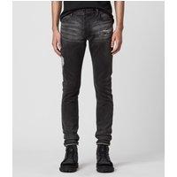 AllSaints Rex Damaged Slim Jeans, Washed Black