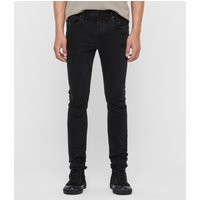 AllSaints Men's Cotton Cigarette Damaged Skinny Jeans, Black, Size: 28