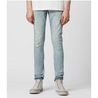 AllSaints Cigarette Damaged Skinny Jeans, Light Indigo