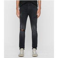 AllSaints Cigarette Damaged Skinny Jeans, Washed Black