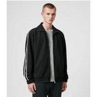 AllSaints Men's Stripe Regular Fit Josh Zip Funnel Neck Sweatshirt, Black, Size: M