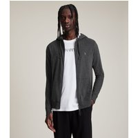 AllSaints Men's Cotton Regular Fit Brace Hoodie, Dark Grey, Size: L