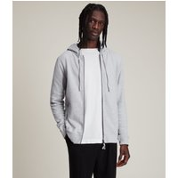 AllSaints Men's Cotton Slim Fit Raven Hoodie, Grey, Size: XXL