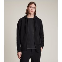 AllSaints Men's Cotton Slim Fit Raven Zip Hoodie, Black, Size: XXL