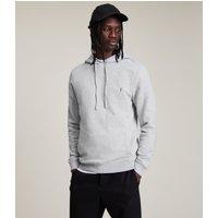 AllSaints Men's Cotton Slim Fit Raven Pullover Hoodie, Grey, Size: M