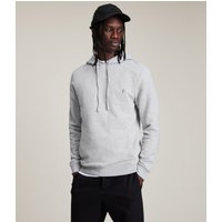 AllSaints Men's Cotton Slim Fit Raven Pullover Hoodie, Grey, Size: XXL