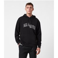 AllSaints Men's Cotton Logo Print Relaxed Fit Dropout Pullover Hoodie, Black, Size: XS