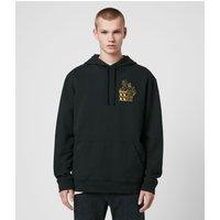 AllSaints Men's Cotton Relaxed Fit Ex Mono Hoodie, Black, Size: XXL
