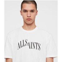 AllSaints Men's Cotton Logo Print Relaxed Fit Dropout Crew T-Shirt, White, Size: XS