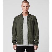 AllSaints Men's Cotton Bassett Bomber Jacket, Green, Size: S