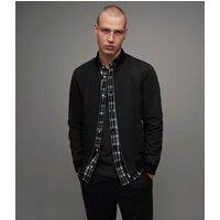 AllSaints Men's Cotton Regular Fit Bassett Bomber Jacket, Black, Size: S