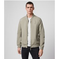 AllSaints Men's Cotton Regular Fit Bassett Bomber Jacket, Grey, Size: M