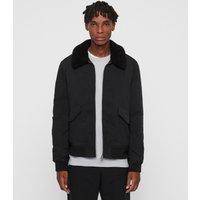 AllSaints Men's Cotton Regular Fit Conway Jacket, Black, Size: XL