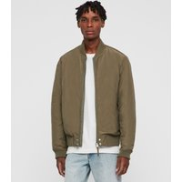 AllSaints Men's Cotton Regular Fit Farrier Bomber Jacket, Green, Size: S