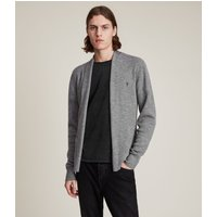 AllSaints Men's Merino Wool Lightweight Mode Cardigan, Grey, Size: M