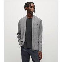 AllSaints Men's Merino Wool Lightweight Mode Cardigan, Grey, Size: XL