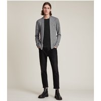 AllSaints Men's Merino Wool Lightweight Mode Cardigan, Grey, Size: XL