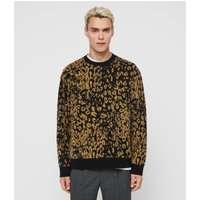 AllSaints Men's Wool Leopard Print Relaxed Fit Wildcat Crew Jumper, Yellow and Black, Size: L
